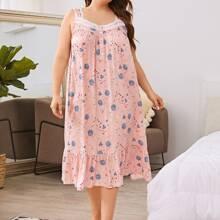 Plus Floral Print Lace Trim Nightdress