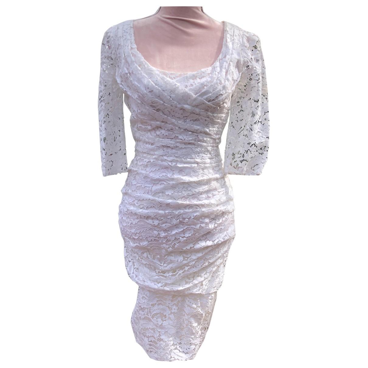 Dolce & Gabbana - Robe   pour femme en dentelle - blanc