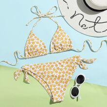 Floral Halter Knot Side Bikini Swimsuit