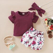 Toddler Girls Ruffle Trim Tee & Floral Shorts & Headband
