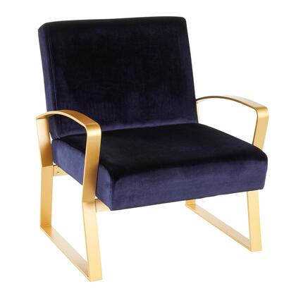 Henley Collection CH-HNLYAU+BU Lounge Chair with Velvet Upholstery  Glam/Contemporary Style and   Gold Finish Metal Frame in Royal Blue
