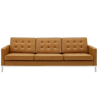 Loft Collection EEI-3385-SLV-TAN Tufted Upholstered Faux Leather Sofa in Silver Tan