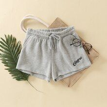 Letter Embroidery Drawstring Waist Track Shorts