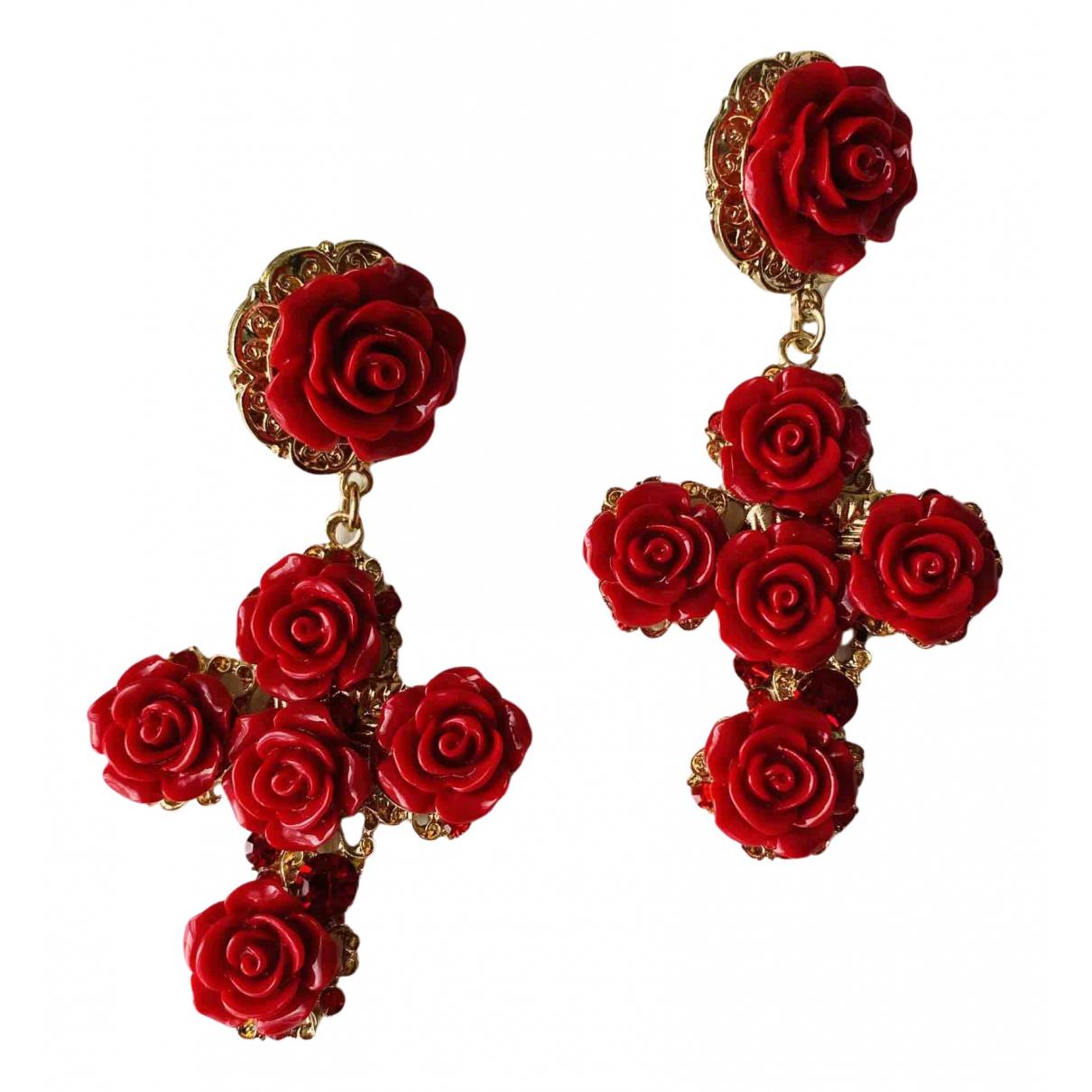 - Boucles doreilles Croix pour femme en metal - rouge