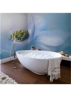 Elegant Blue Flower Pattern Decorative Waterproof 3D Bathroom Wall Murals