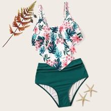 Bikini top vaporoso tropical al azar con fruncido