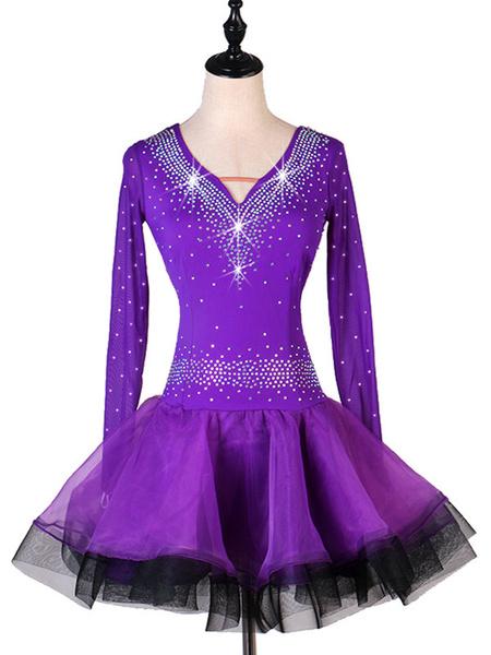 Milanoo Latin Dance Costume Rhinestone Ruffle Lycra Spandex Dress Latin Dancer Dancing Costume