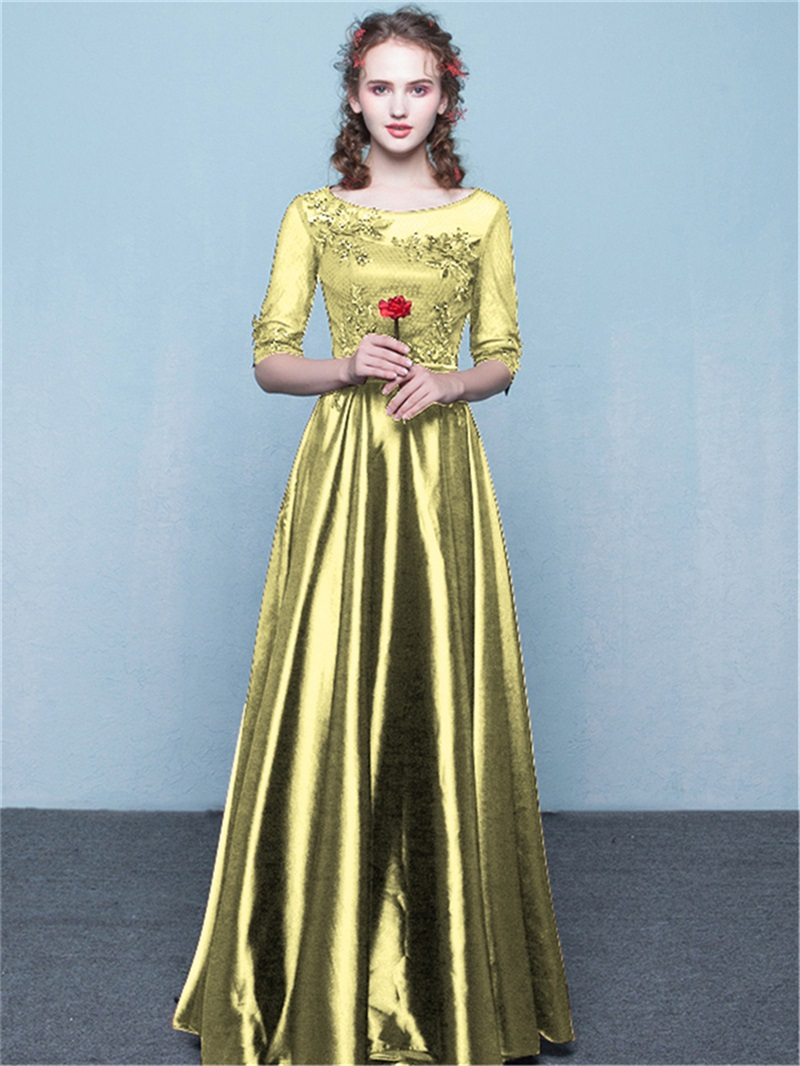 Ericdress Half Sleeves A-Line Scoop Appliques Sashes Sequins Evening Dress