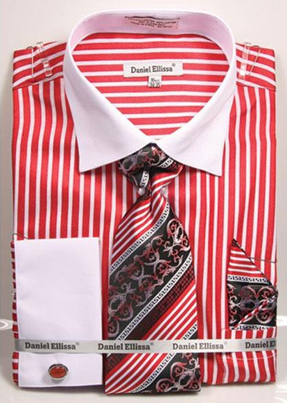 Men's 2 Tone French Cuff Red Dress Shirt White Collar Big&Tall Sizes
