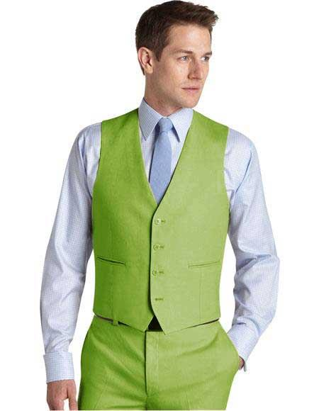 Matching Waistcoat Wedding ~ Prom Vests & Set Apple Green