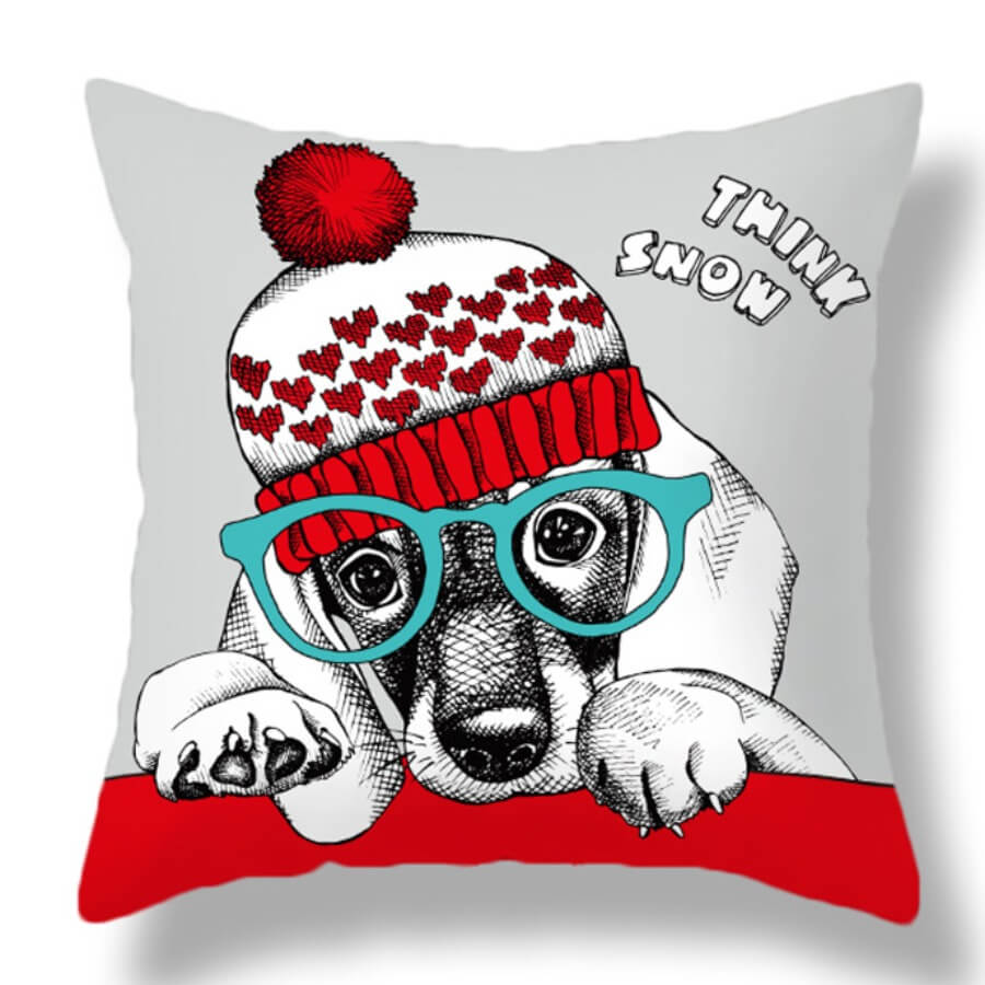 LW Lovely Dog Print Red Decorative Pillow Case