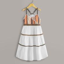 Maedchen Cami Kleid mit Stamm Muster und Band