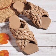 Open Toe Cross Strap Slide Sandals