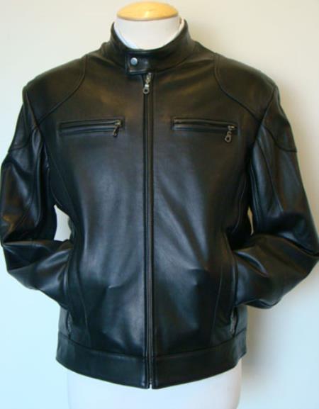 Mens Lamb Leather Racing Black Jacket