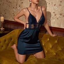 Contrast Lace Backless Cami Night Dress