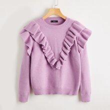 Ruffle Trim Solid Sweater
