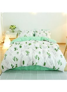 Green Painting Cactus Printed Fresh Style Cotton 4-Piece White Bedding Sets