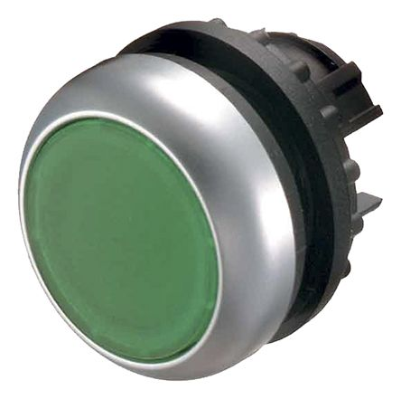 Eaton Round Illuminated Green Push Button Head - Momentary, M22 Series, 22mm Cutout, Round
