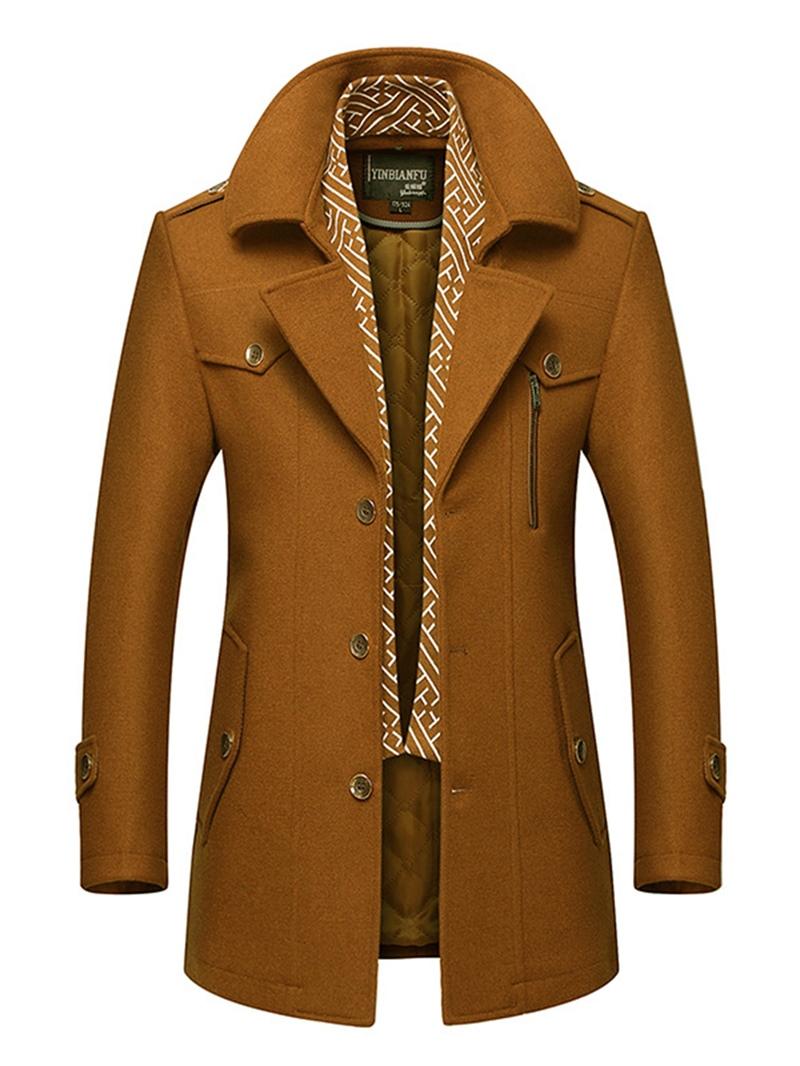 Ericdress Plain Lapel Single-Breasted Slim Fit Mens Wool Coats