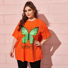 Plus Drop Shoulder Letter and Butterfly Print Top