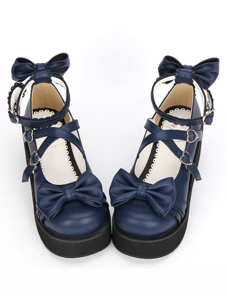 Milanoo Gothic Lolita Shoes Cross Bows Platform Lolita Shoes Ankle Strap Lolita Platform Heels Shoes
