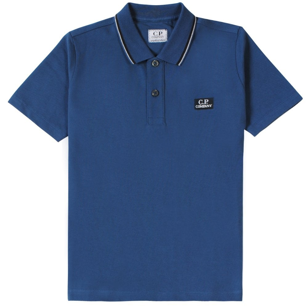 C.p. Company C.P Company Tipped Logo Polo Shirt Colour: BLUE, Size: 14 YEARS