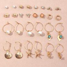 14 Paare Ohrringe mit Kunstperlen und Muschel Dekor