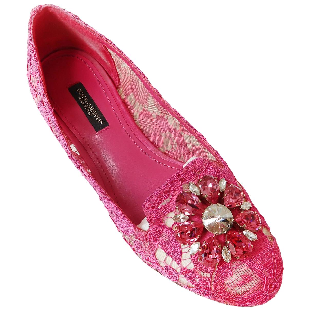 Dolce & Gabbana Taormina Ballerinas in  Rosa Leinen