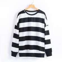 Stripe Print Drop Shoulder Sweatshirt