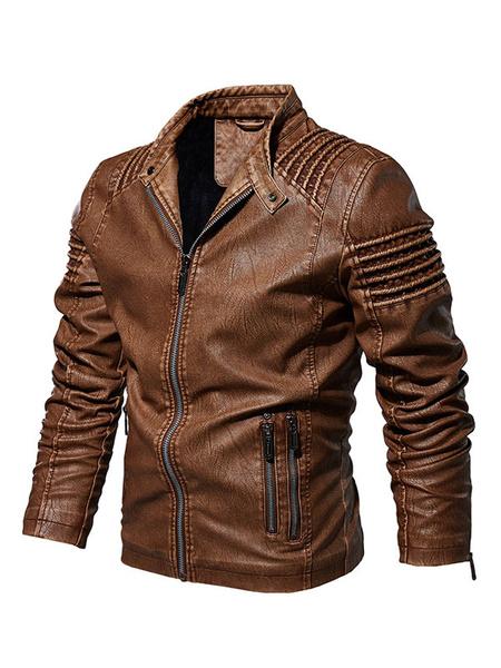 Milanoo Chaqueta de cuero de los hombres Jacke bolsillos Cafe Marron Elegante chaqueta