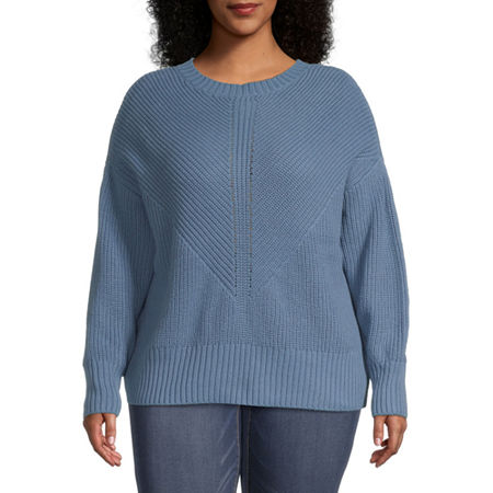 a.n.a-Plus Womens Crew Neck Long Sleeve Pullover Sweater, 1x , Blue