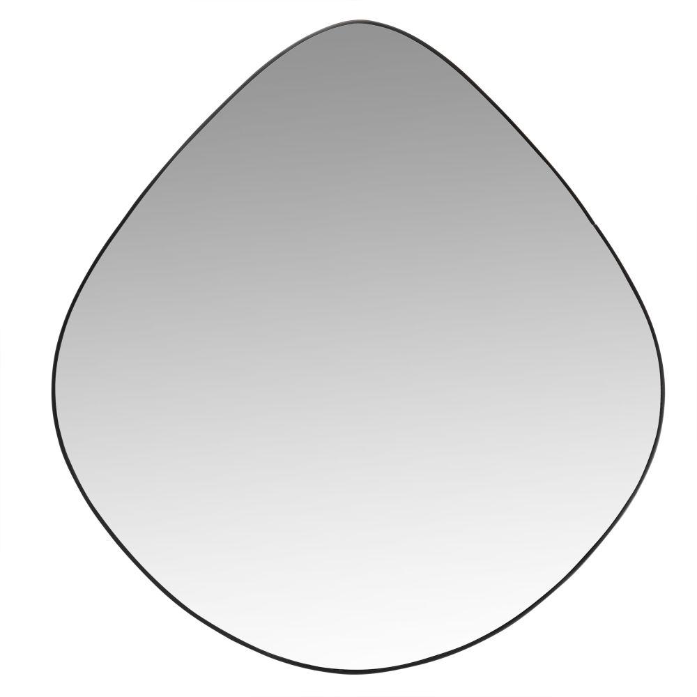 Eiformiger Spiegel mit mattschwarzem Rahmen aus Recycling-Metall D50