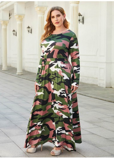 Camouflage Print Long Sleeve Plus Size Maxi Dress - 3XL