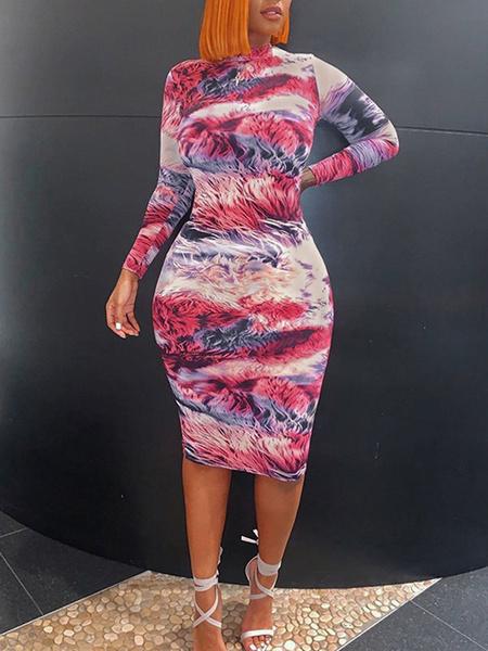 Milanoo Vestidos ajustados Tie Dye Rose Jewel Neck Vestido de lapiz de manga larga sexy