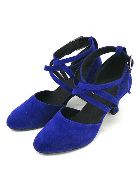 Milanoo Zapatos de baile azules Nubuck punta redonda Criss Cross Salon de baile Zapatos Zapatos de baile latino