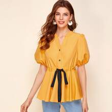 Notch Neck Puff Sleeve Drawstring Waist Top