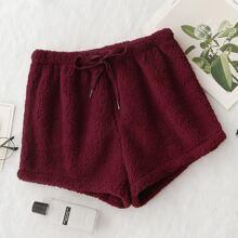 Shorts comodos de franela de cintura con cordon