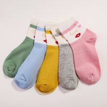 5pairs Letter & Lip Pattern Ankle Socks