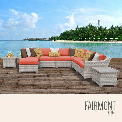 FAIRMONT-09c-TANGERINE Fairmont 9 Piece Outdoor Wicker Patio Furniture Set 09c with 2 Covers: Beige and
