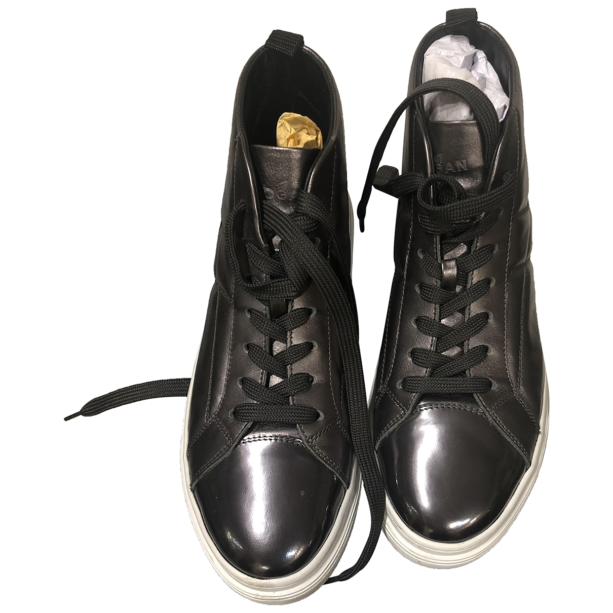 Hogan \N Anthracite Leather Trainers for Women 38 EU