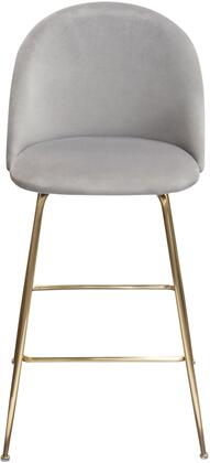 LILLYBCGR2PK Lilly Set of (2) Bar Height Chairs in Grey Velvet with Brushed Gold Metal
