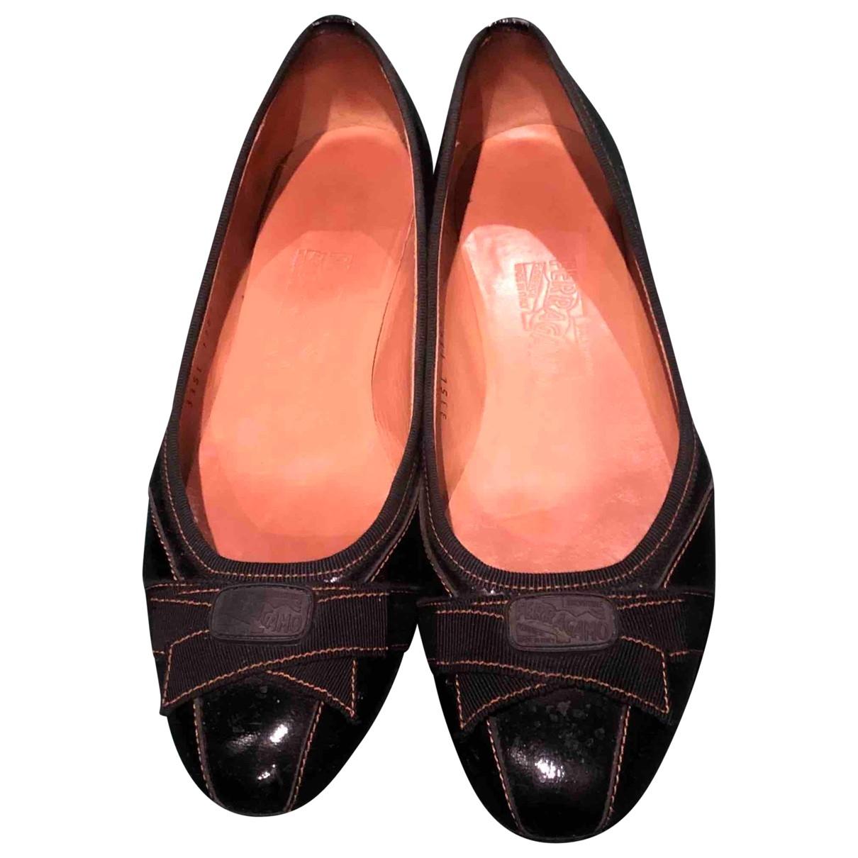 Salvatore Ferragamo - Ballerines   pour femme en cuir - noir