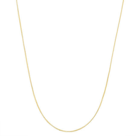 14K Gold Over Silver 22 Inch Semisolid Box Chain Necklace, One Size , No Color Family