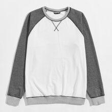 Pullover mit Kontrast Stich, Farbblock und Raglanaermeln