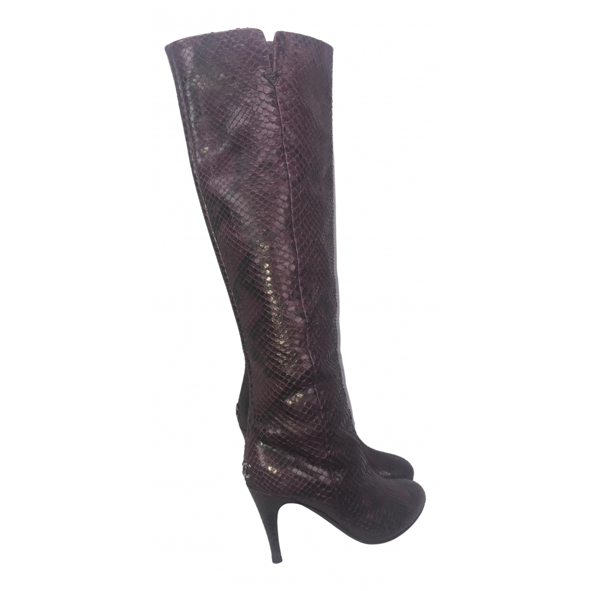 Chanel \N Stiefel in  Bordeauxrot Python