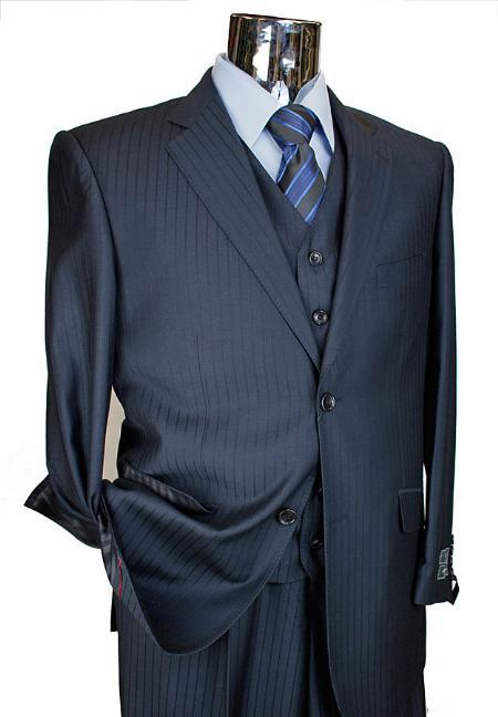 Mens 3 Piece 2 Button Suit with Single Pleated Pants Navy Tone on Tone