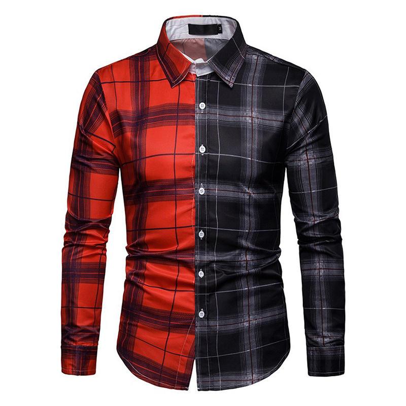 Men Plaid Patchwork Long Sleeve Shirts