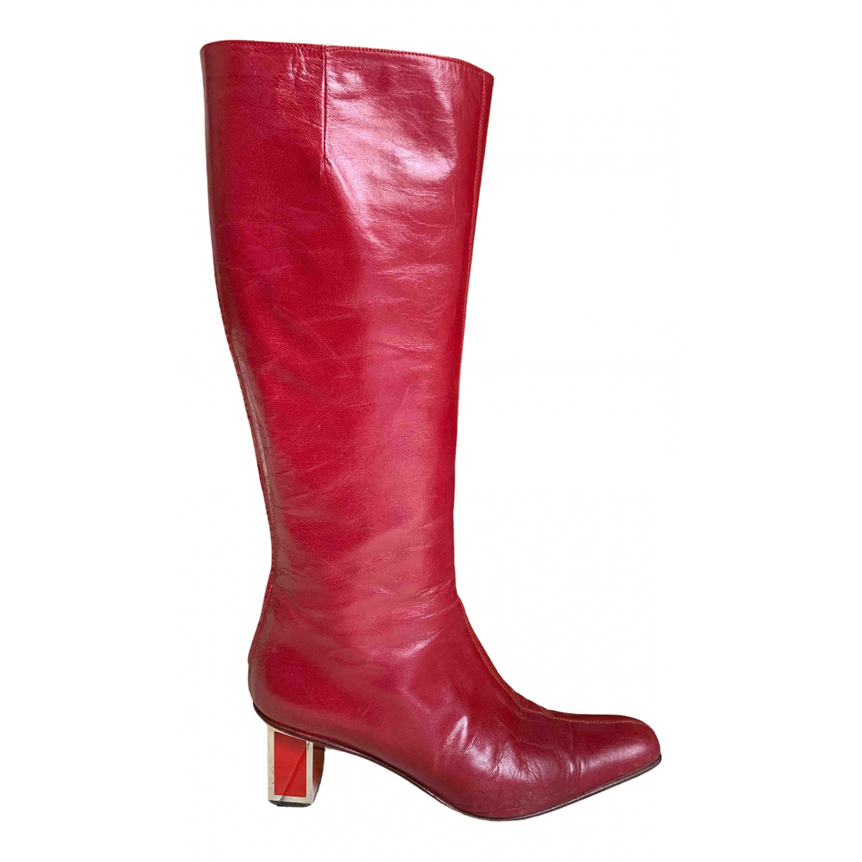 Valentino Garavani \N Red Leather Boots for Women 37 IT