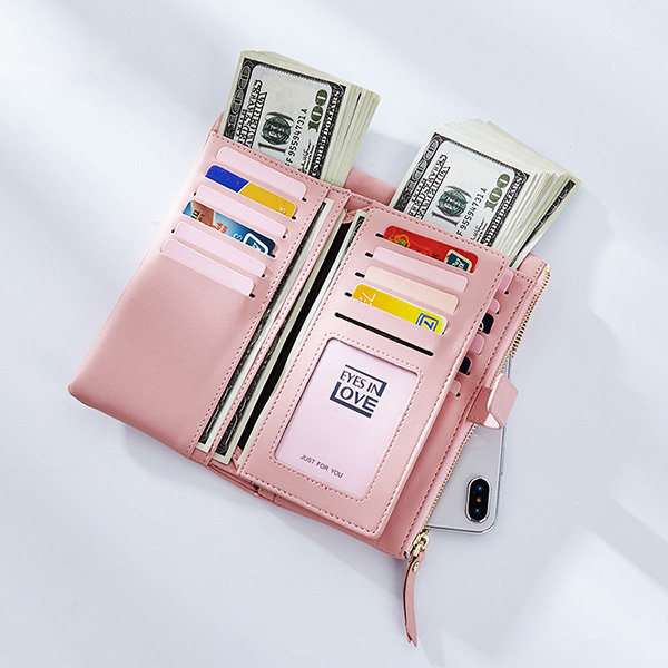Women PU Leather 22 Card Slot Wallet Casual Solid Phone Purse