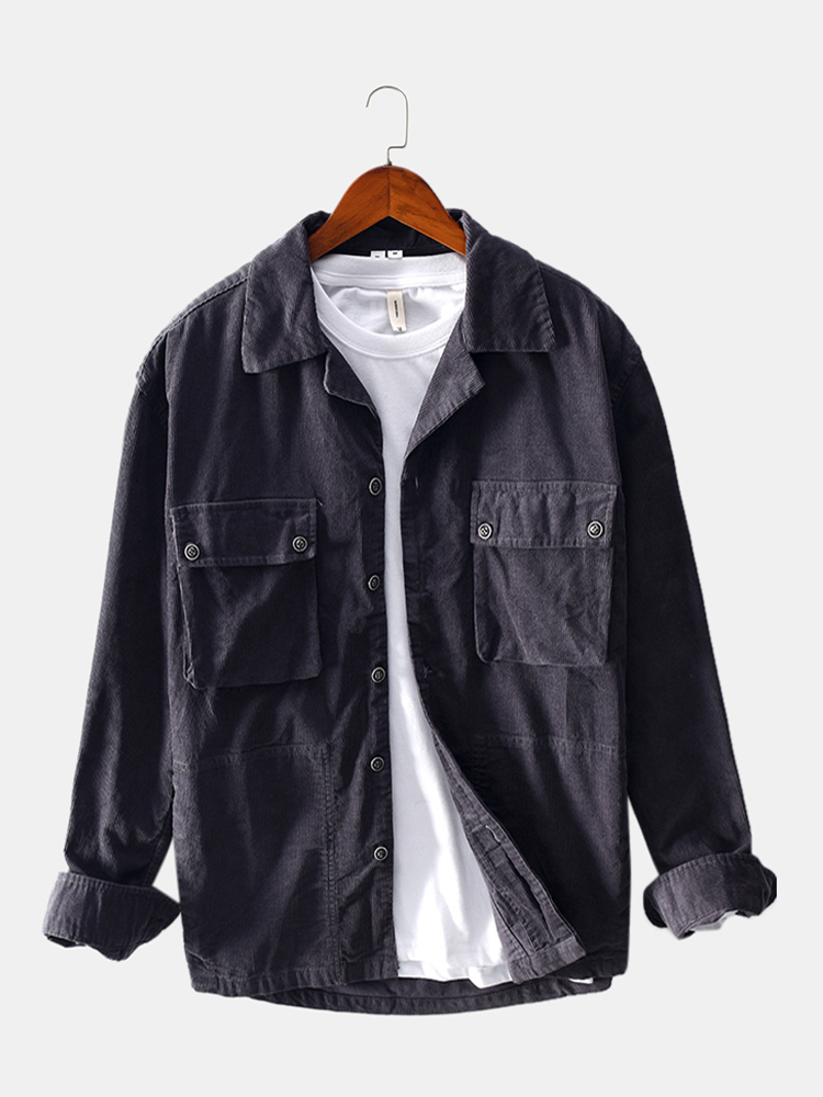 Mens Solid Color Corduroy Double Chest Pocket Long Sleeve Jackets